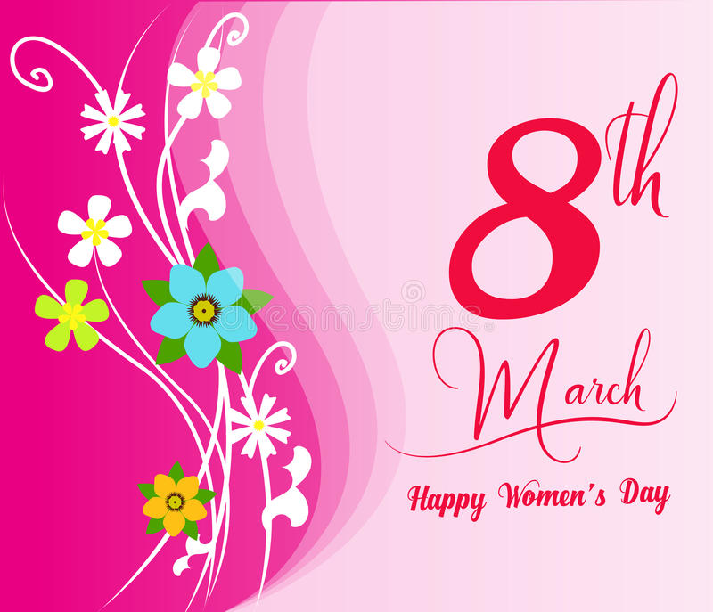 Happy Women's Day celebrations concept with stylish pink text. Happy Women's Day celebrations concept royalty free illustration