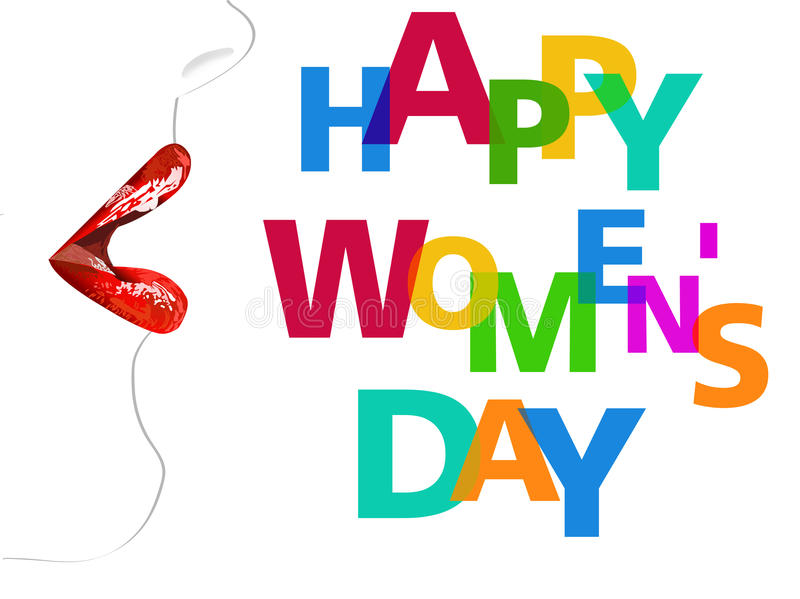 Happy Women's Day Design Element, Women's Day background with red lips stock illustration