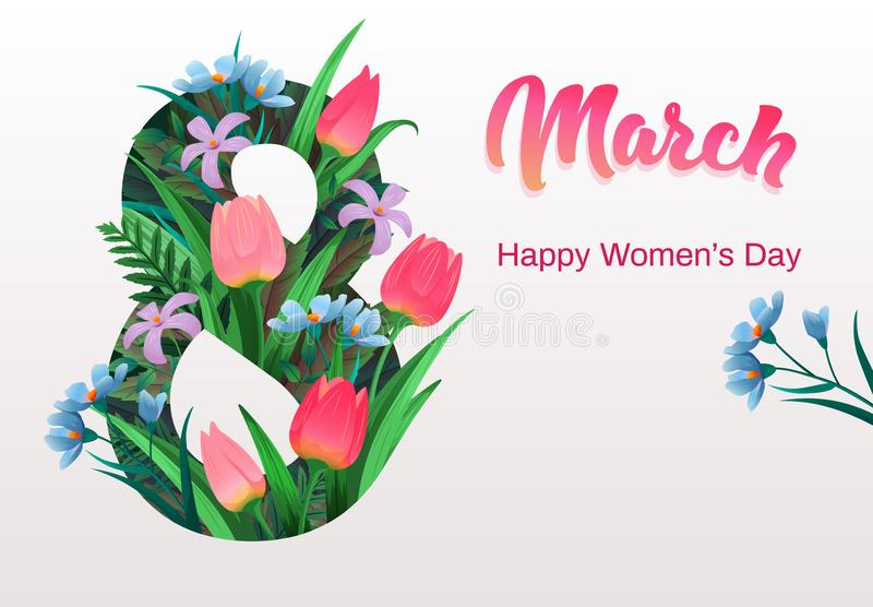 Happy women`s day, flyer, congratulation card March 8 with flowers. Decor, spring plants, green leaves, colorful tulips, invitation template, vector vector illustration