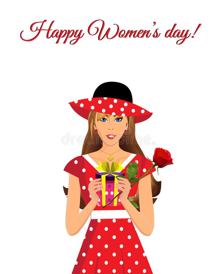 Happy women`s day greeting card with cute girl in red dress vector illustration