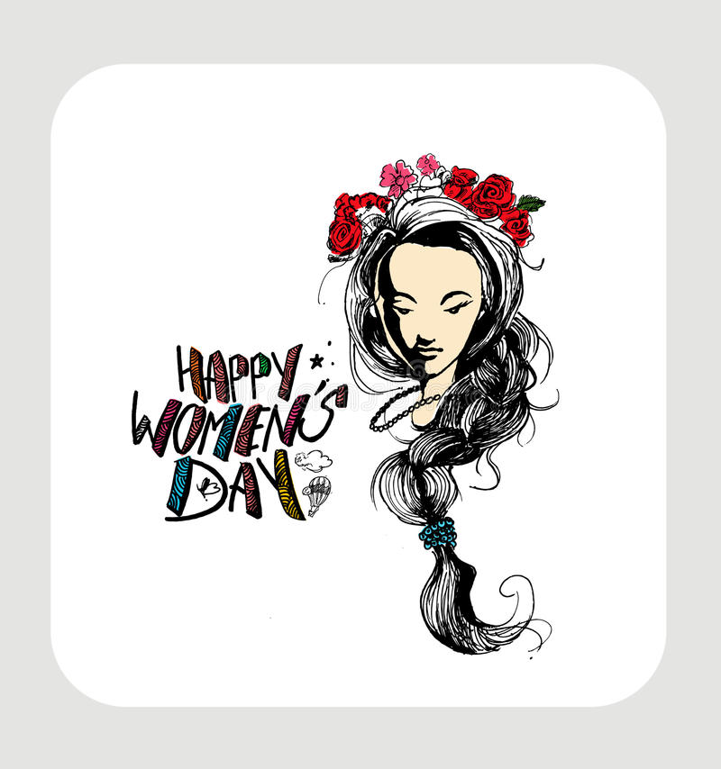 Download Happy Women`s Day Greeting Card Design. Stock Vector - Illustration: 86566416