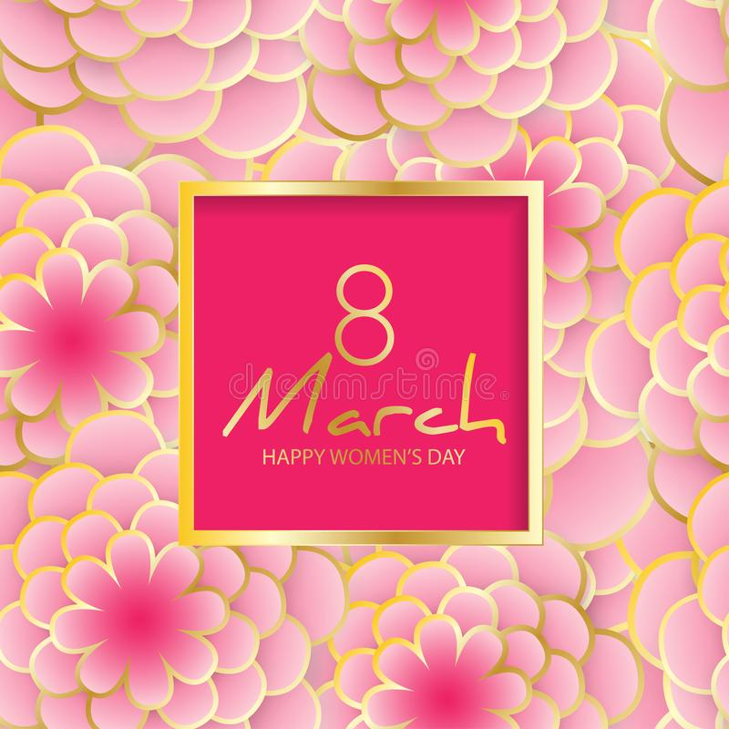 Happy Women`s Day greeting card. Elegant floral background with vector illustration