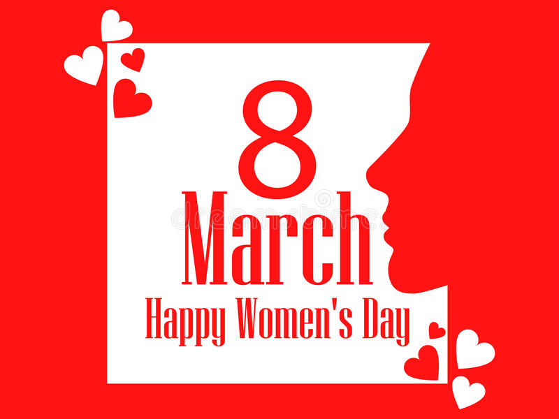 Happy Women`s Day greeting card. 8 March. Female face with the text of congratulations. Holiday card. Vector stock illustration