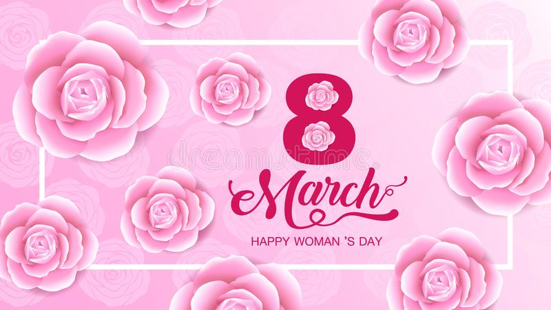 Happy Women `s Day holiday , 8 March, girl head silhouette cutout ,flower background. banner , greeting card, poster, vector. Illustration, template design stock illustration