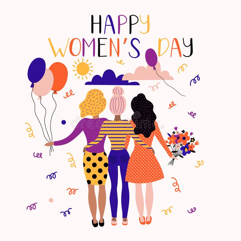 Free Happy Women`s Day Illustration. Funny Holiday Happy Women With Flowers Stock Image - 139945041