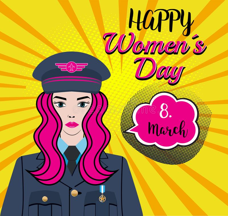Happy Women´s Day - 8.march. A Woman Character - soldier, pilot, captain in thw air force, us army. Pinpup girl with a pink hair stock illustration
