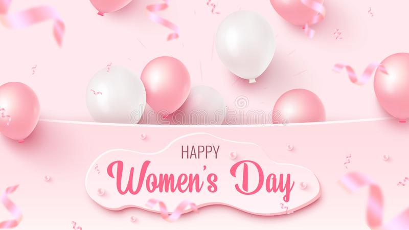 Happy Women`s Day text design with custom shape, pink and white air balloons, falling foil confetti on rosy background vector illustration