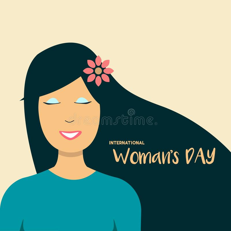 Happy Women's Day 8th March illustration, beautiful girl face smiling. Web banner. vector EPS10. Happy Women's Day 8th March illustration, beautiful stock illustration
