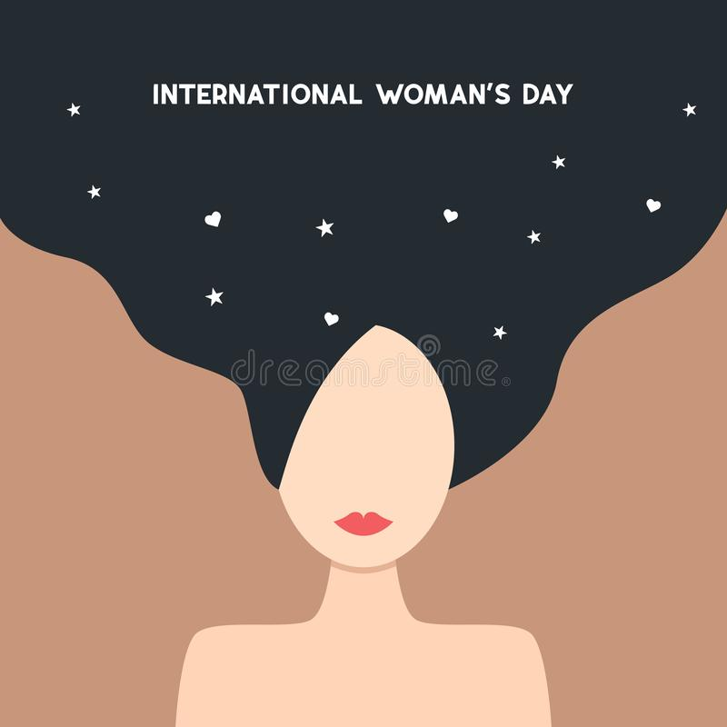 Happy Women's Day 8th March illustration, beautiful girl face. Web banner. vector EPS10. Happy Women's Day 8th March illustration, beautiful girl face royalty free illustration