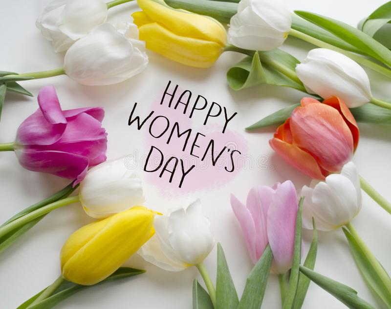 Happy women s Day tulips.Beautiful blossoming tulip flower. Floral design.8 March, International Woman`s Day greeting card. royalty free stock photo
