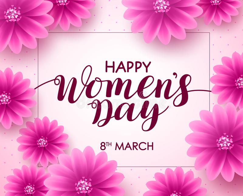Happy women`s day vector background design with march 8 text. Pink flowers and boarder for international women`s day celebration. Vector illustration vector illustration
