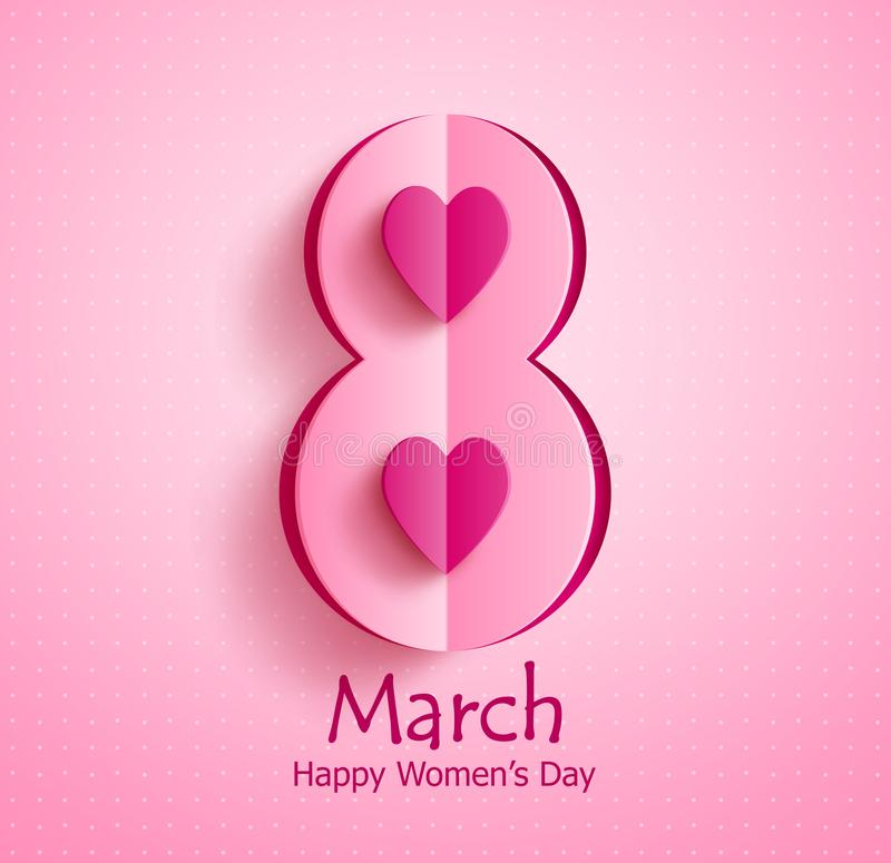 Happy women`s day vector banner design with March 8 text and paper cut heart stock illustration