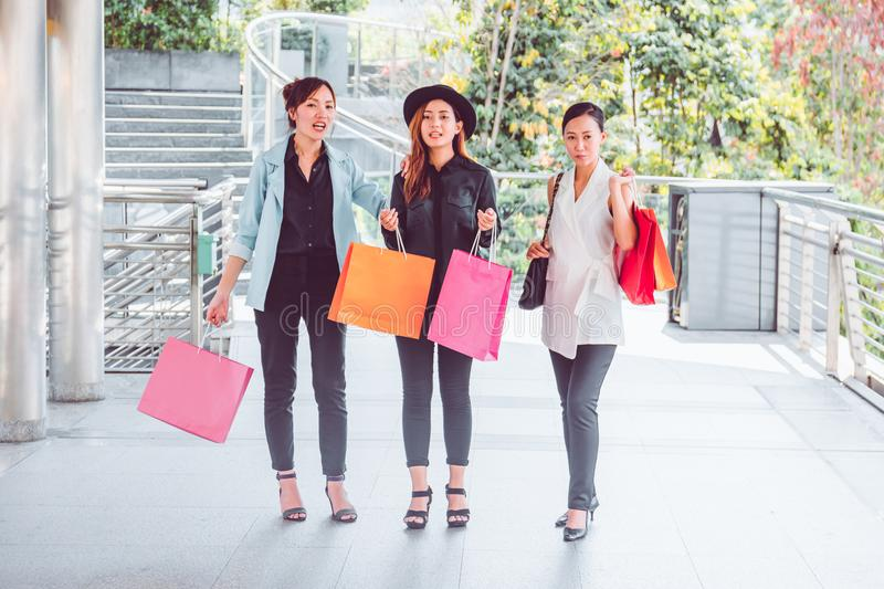 Happy woman with shopping bags enjoying in shopping. women shopping, lifestyle concept royalty free stock image