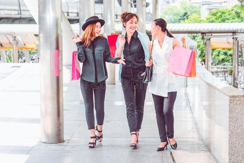 Happy woman with shopping bags enjoying in shopping. women shopping, lifestyle concept stock images