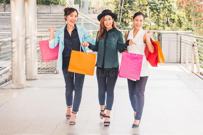Happy woman with shopping bags enjoying in shopping. women shopping, lifestyle concept royalty free stock photos