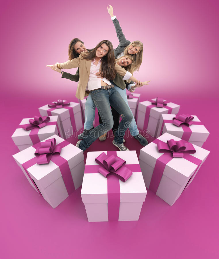 Download Happy Women Surrounded By Gifts Pink Stock Illustration - Illustration of laughing, female: 39618961