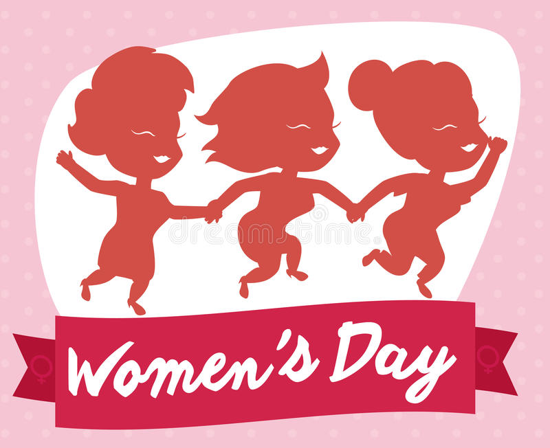 Happy Women Walking Hand in Hand in Women's Day, Vector Illustration stock photos