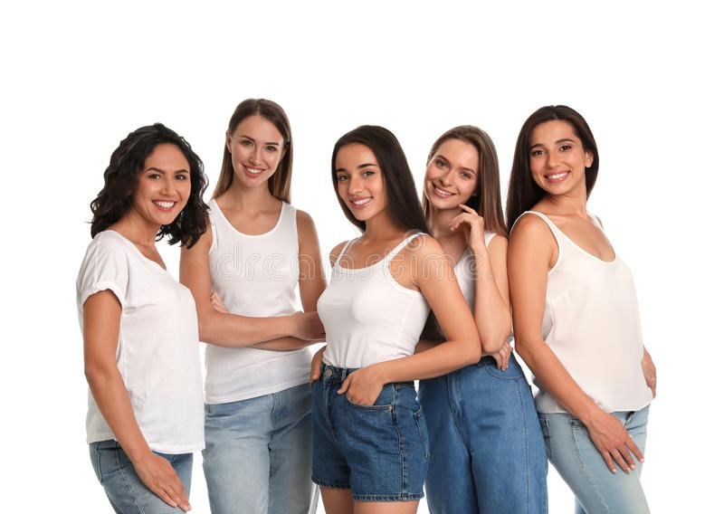 Happy women on white background royalty free stock image