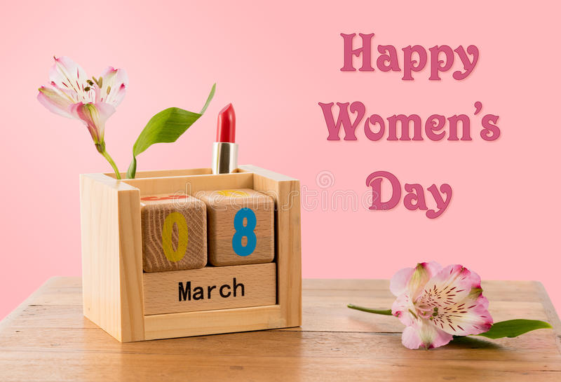 Happy Womens Day background with calendar and blossom stock photos