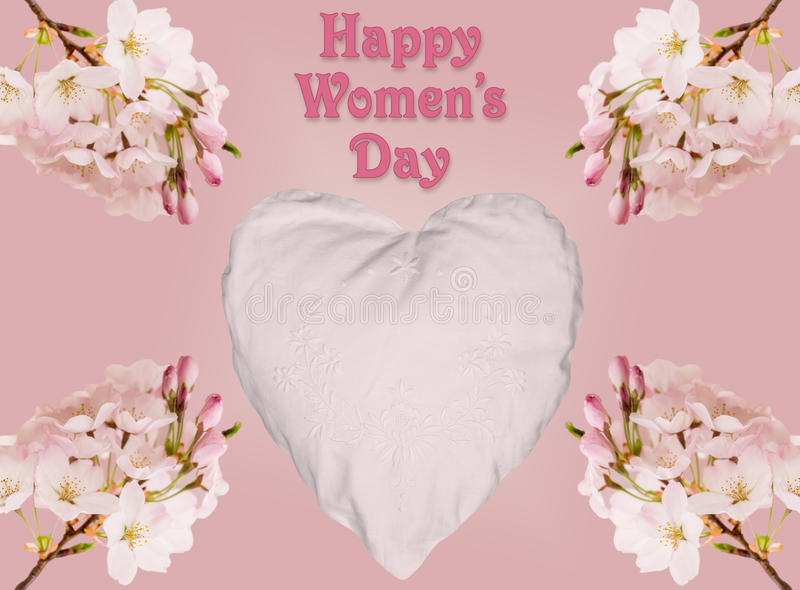 Happy Womens Day background with heart and blossoms royalty free stock photo