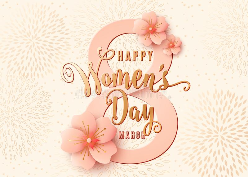 Happy womens day celebration background design with light pink flowers. 8 march royalty free illustration