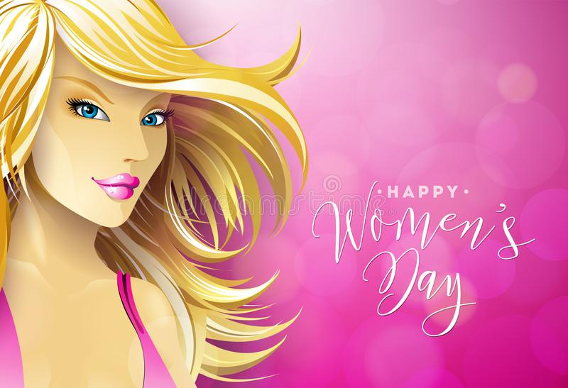 Happy Womens Day Greeting Card Design with Blondie Young Woman. International Female Holiday Illustration with. Typography Letter Design on Pink Background royalty free illustration