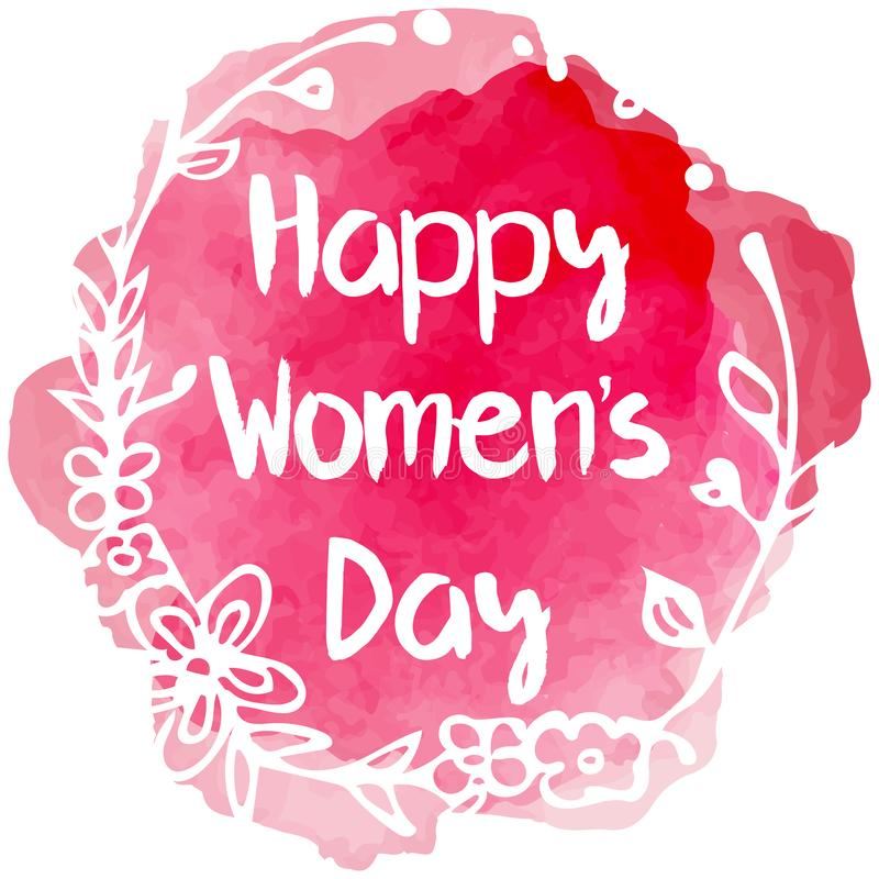 Happy Womens day lettering with floral frame vector illustration