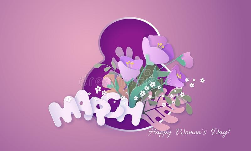 Happy womens day 8 March card paper cut style. royalty free illustration