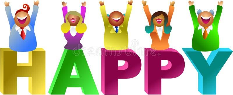 Happy word vector illustration