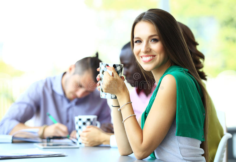 Happy work team during break time. In office royalty free stock images