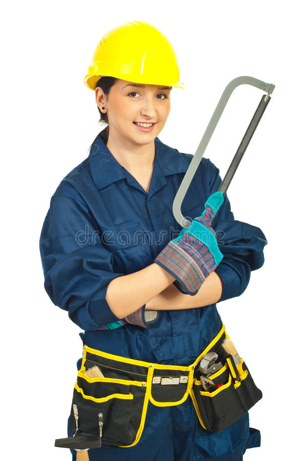 Happy Worker Woman Holding Saw Stock Photo