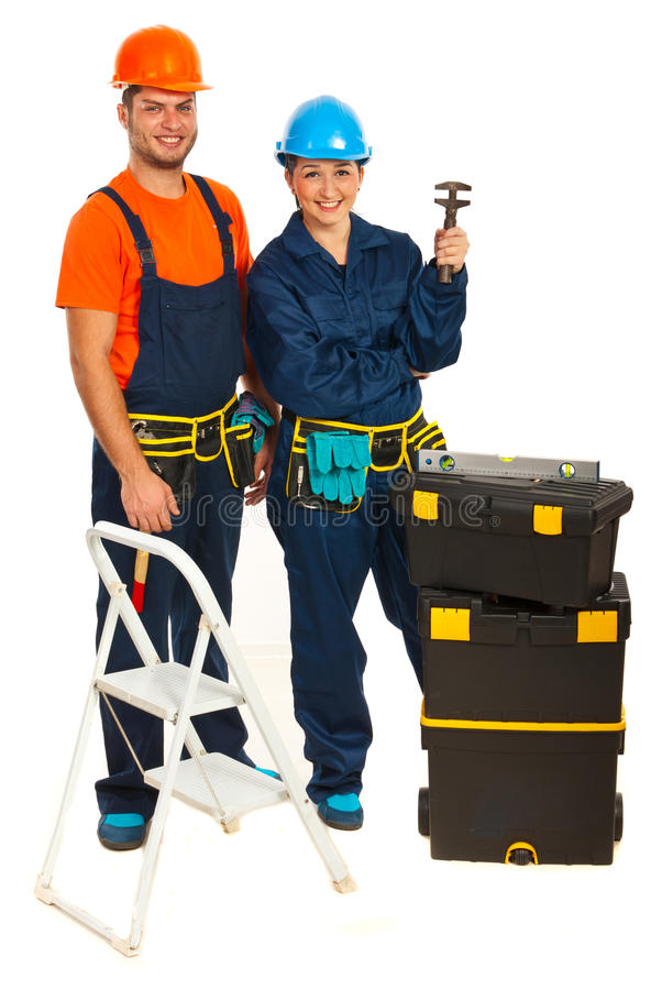 Happy workers team royalty free stock image