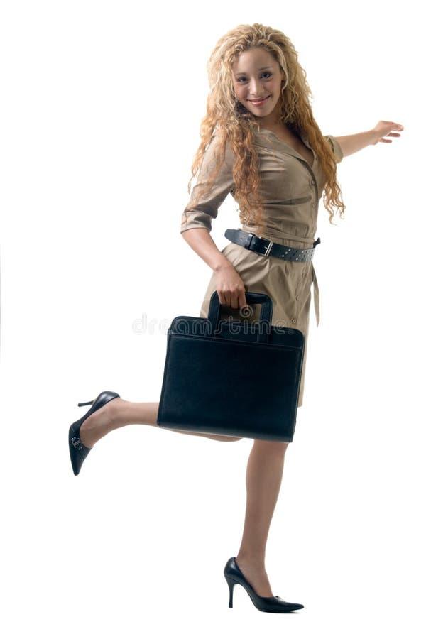 Happy working girl stock photo