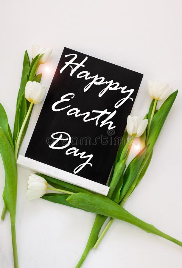 Free Happy World Earth Day April 22 Greeting Sign On Black Chalk Board With Tulip Flowers On White Background.Ecology Concept Stock Photos - 173588623