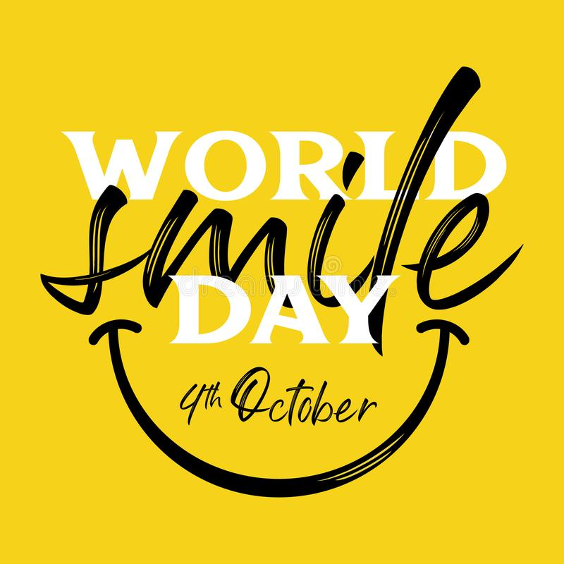Happy world smile day banner vector illustration greeting design creative typography lettering on yellow background. Laughter, sketch, black, blank, board royalty free illustration
