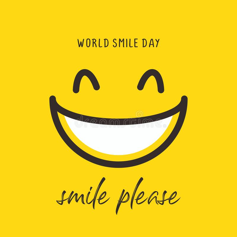 Happy world smile day banner vector illustration greeting design on yellow background with emoticon drawing. Laughter, sketch, black, blank, board, card royalty free stock photos