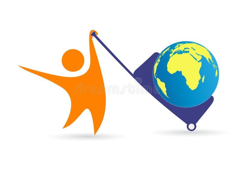 Happy world traveler. Illustration of happy world traveler design isolated on white background vector illustration