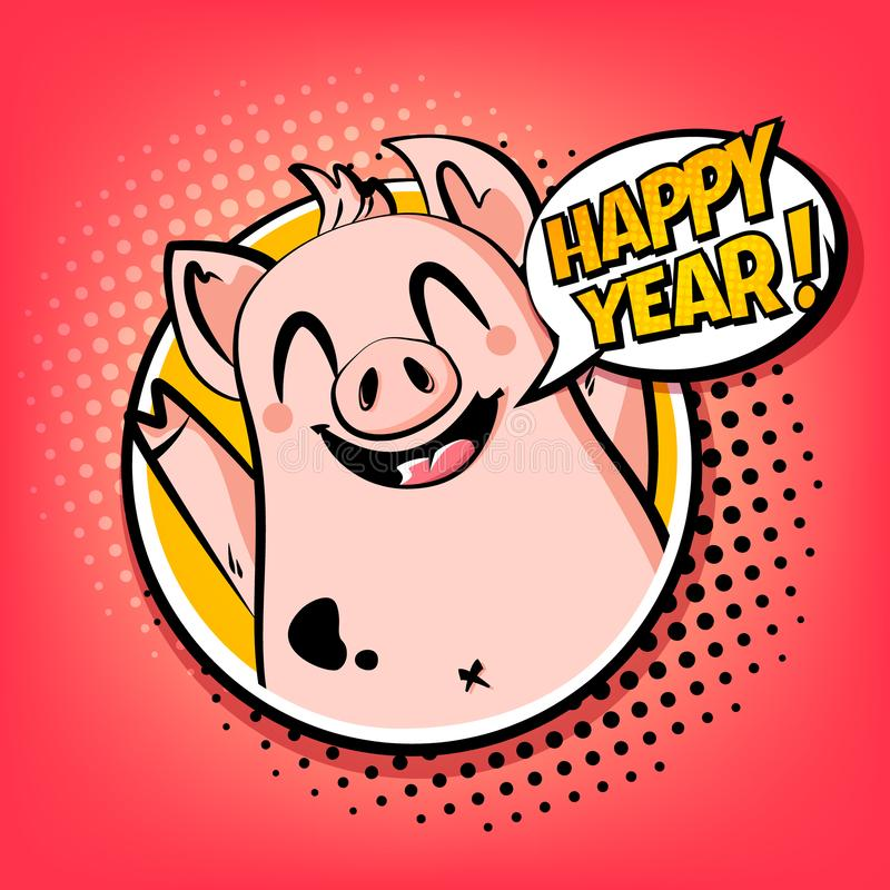 Happy Year card with pig in frame and text cloud. Greeting poster in comics style. Vector vector illustration