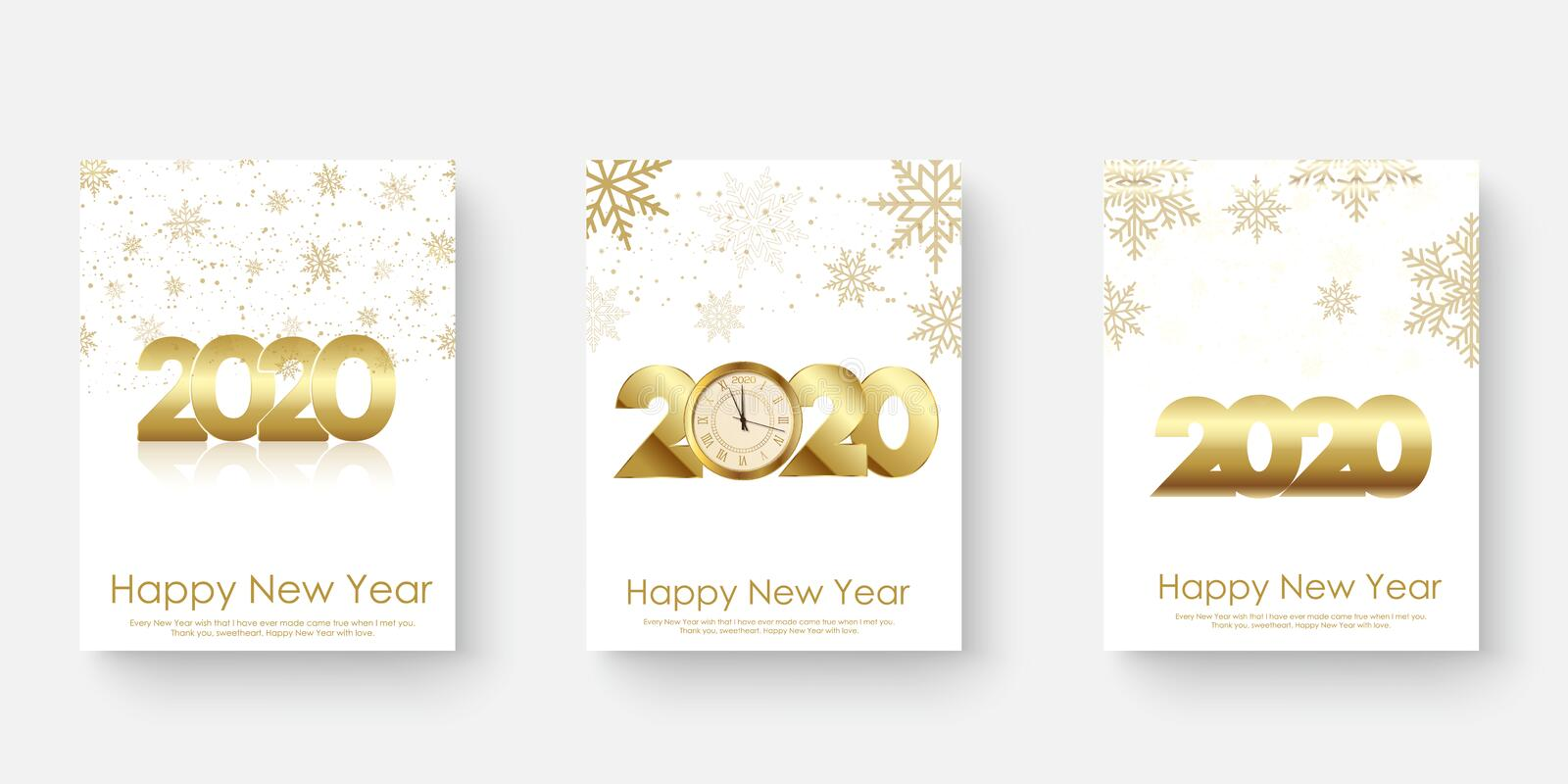 Happy 2020 Year cards set with Xmas ornaments. Vector illustration.  stock illustration