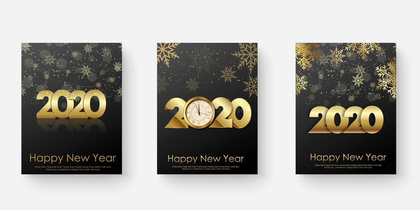 Happy 2020 Year cards set with Xmas ornaments. Vector illustration.  royalty free illustration
