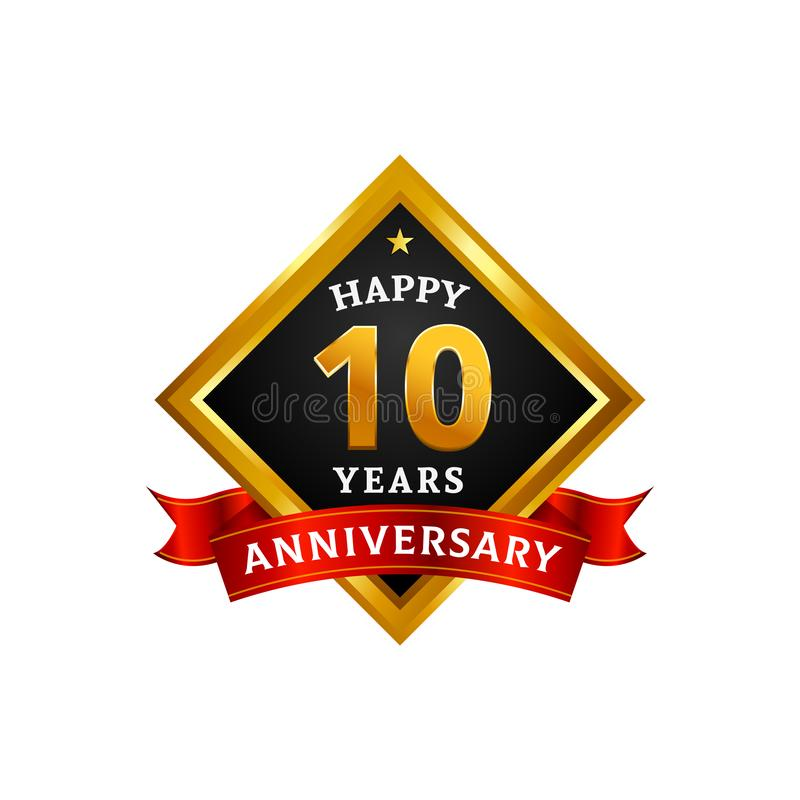 Happy 10 years golden anniversary logo celebration with diamond frame and ribbon. Eps 10 vector illustration