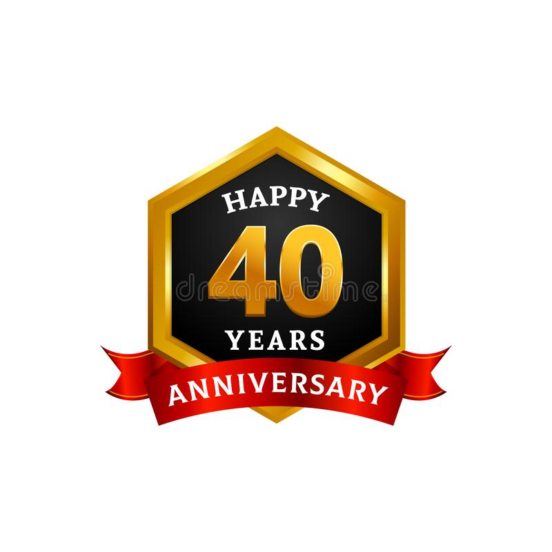 Happy 40 years golden anniversary logo celebration with diamond frame and ribbon vector illustration