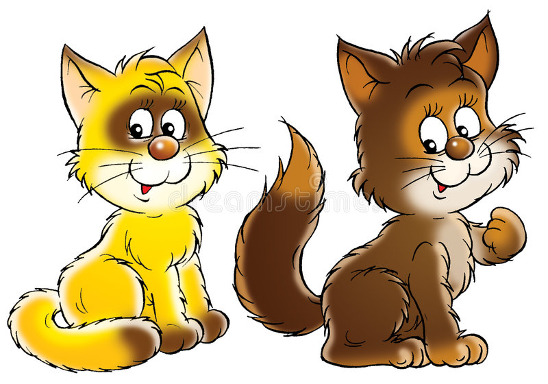Happy yellow and brown cats stock illustration