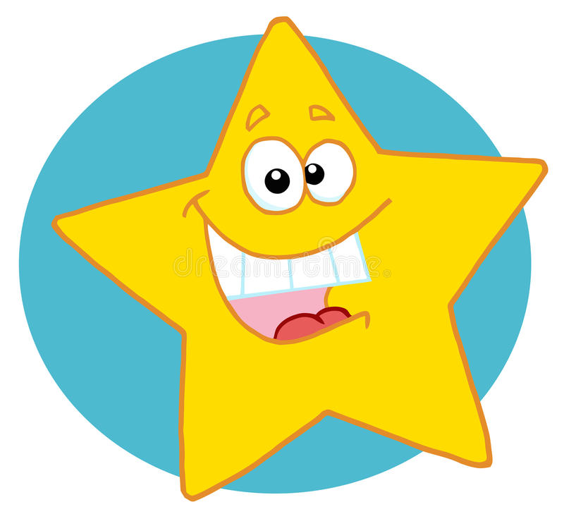 Happy yellow star. Excited yellow star smiling and showing his teeth, over a blue circle stock illustration