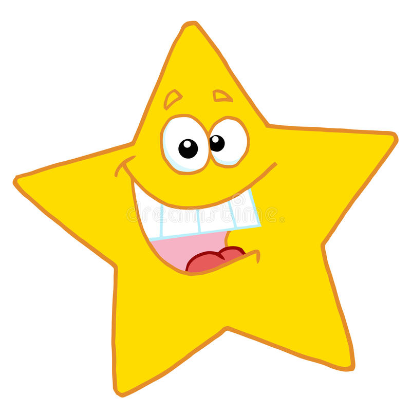 Happy yellow star smiling. Hyper, happy yellow star smiling and showing his teeth royalty free illustration