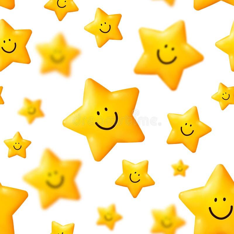 Happy yellow stars vector seamless pattern. On white background stock illustration