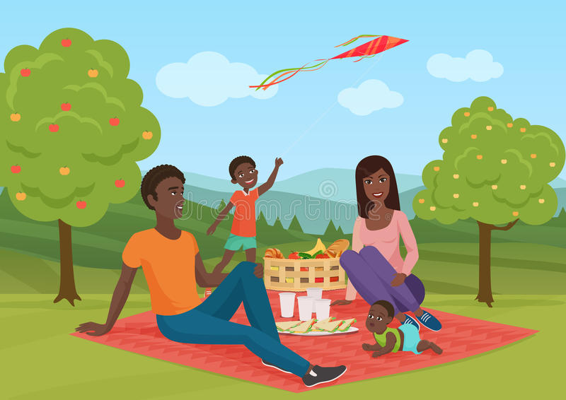 Happy young african american family with kid on a picnic. Dad, mom and son are resting in nature. Vector cartoon vector illustration