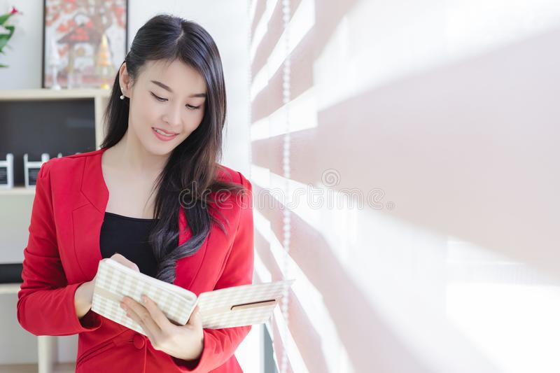 Beautiful attractive young asian business woman stock photos
