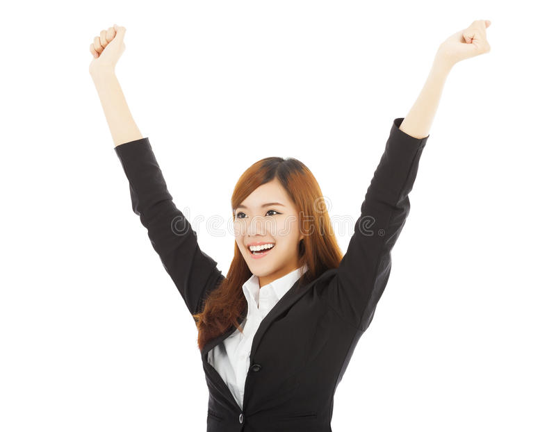 Happy young asian business woman with success gesture stockbilder