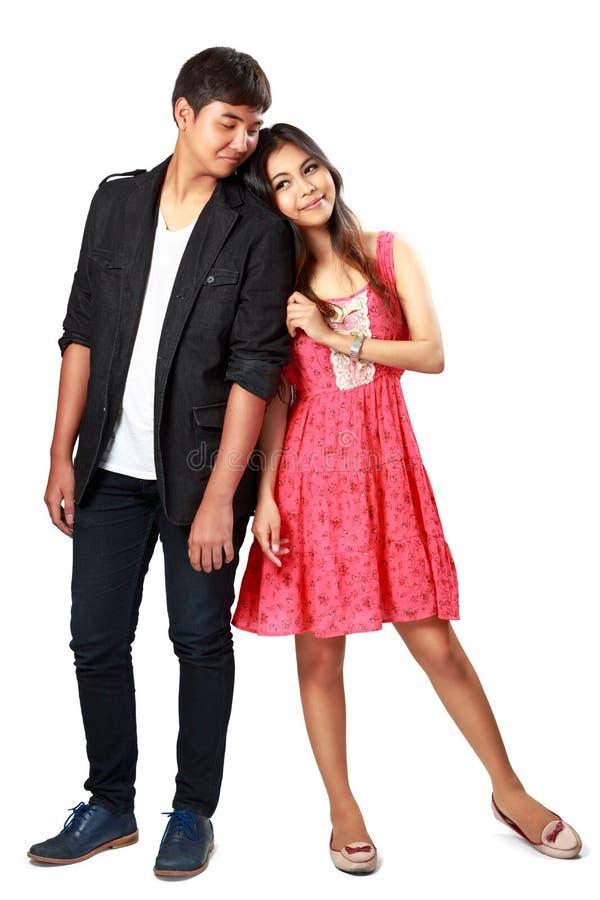 Happy young asian couple stock photos